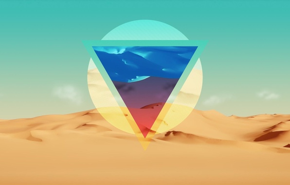 Picture line, abstraction, desert, color, triangle