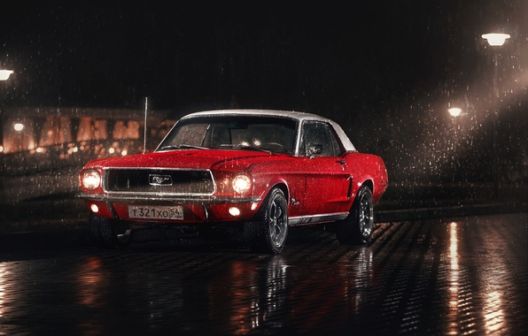 Picture white, red, rain, Mustang, Ford, Parking, 1967, lampposts, washers