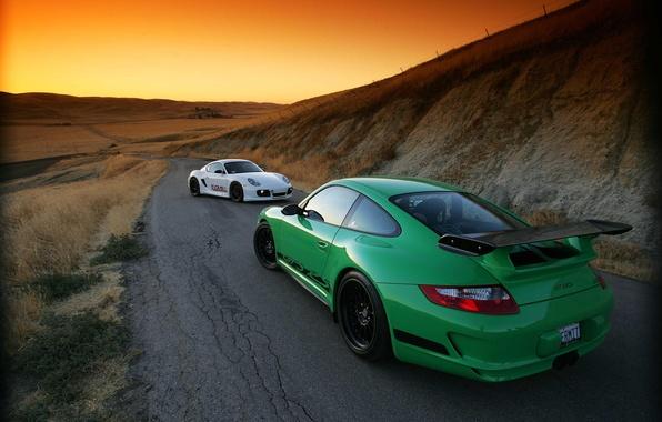Picture sunset, Porsche, GT-3