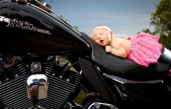 Picture sleep, motorcycle, girl, headband, baby, skirt, Harley-Davidson, sleeping