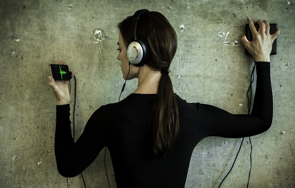 Picture girl, music, wall, hair, headphones, sounds