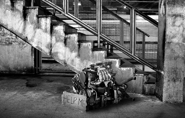 Picture black and white, Ladder, Motor, Engine, Help