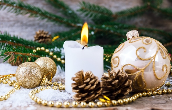 Picture branches, fire, holiday, balls, patterns, toys, Shine, candle, New year, needles, bumps