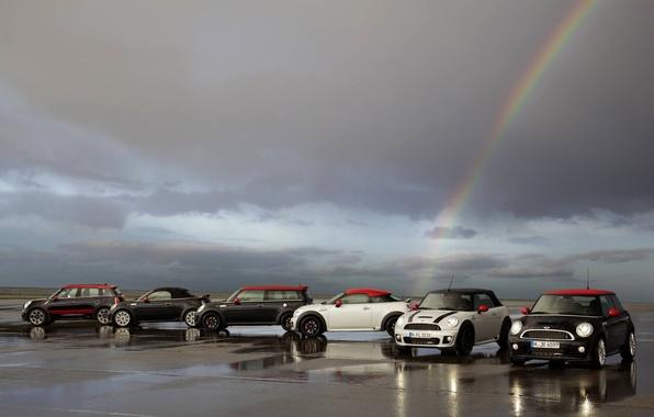 Picture asphalt, Rainbow, Machine, Mini Cooper, a lot, MINI, Mini Cooper, Overcast