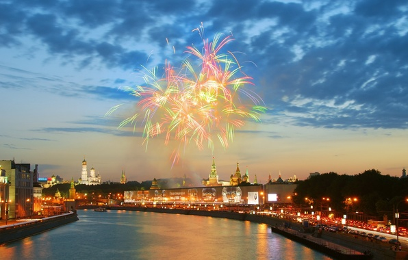 Picture river, salute, Moscow, the Kremlin