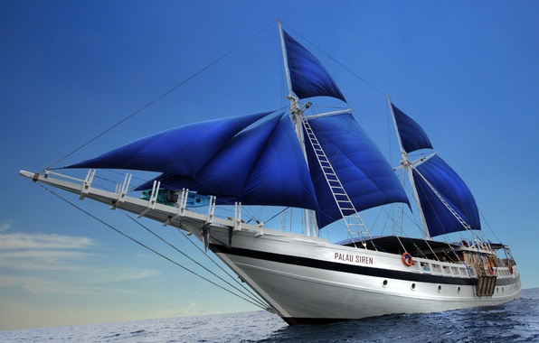 Picture the ocean, stay, yacht, sails, journey
