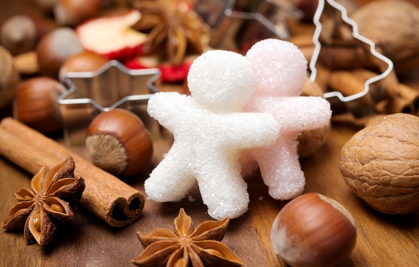 Picture winter, men, New Year, Christmas, sugar, nuts, cinnamon, Christmas, figures, holidays, New Year, spices, star …