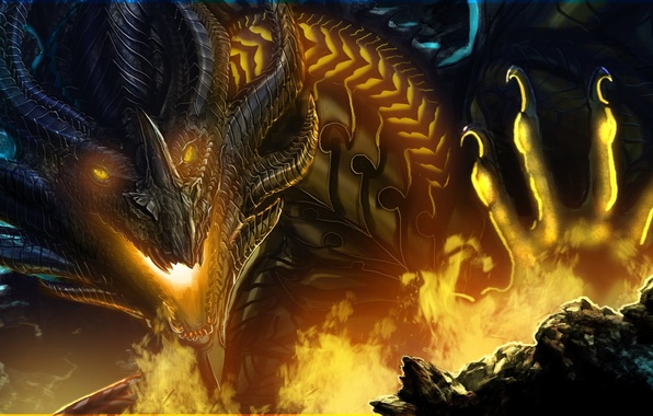 Picture look, fiction, fire, dragon, paw, art, mouth, claws