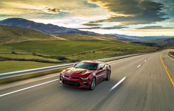 Picture sunset, red, sunrise, speed, Chevrolet, camaro, chevrolet, Camaro