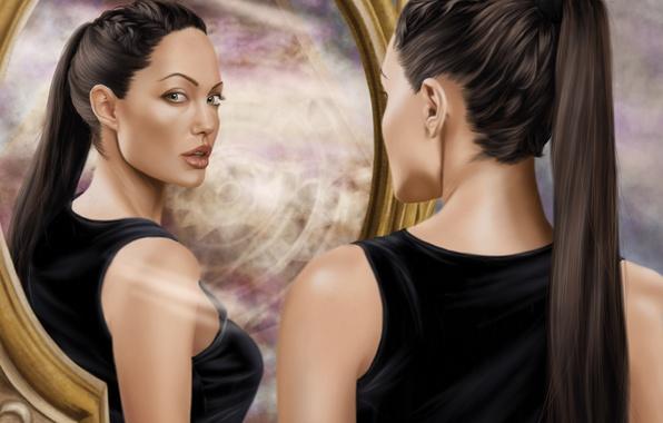 Picture look, girl, face, actress, mirror, Angelina Jolie, art, Tomb Raider, Lara Croft