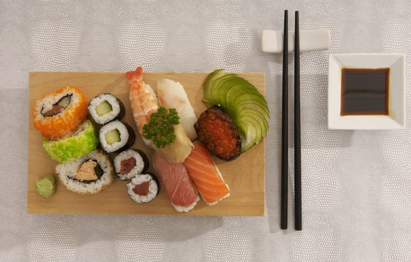 Picture food, sticks, food, delicious, sushi, rolls, seafood, Japanese cuisine, soy sauce, red caviar