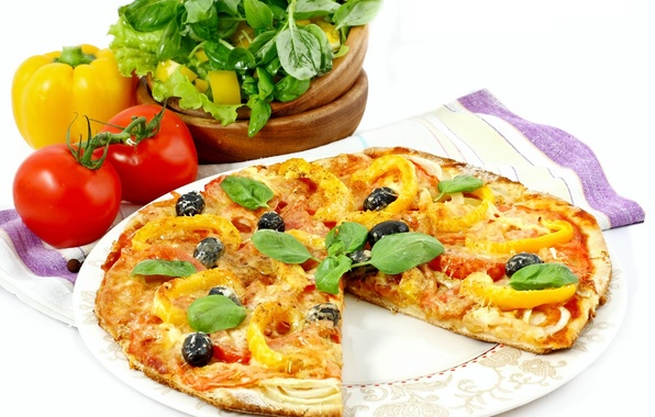 Picture greens, towel, cheese, bow, meat, pizza, tomato, olives, dish, olives, bell pepper, cheese, meat, greens, …