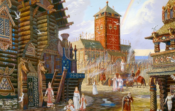 Picture the city, home, rainbow, painting, art, beautiful, Vsevolod Ivanov, Russian folklore, Baltic Russia, painted, Arkona, …