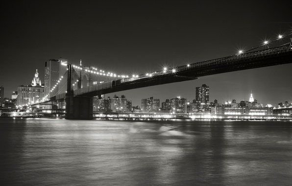 Picture night, the city, lights, Strait, New York, lighting, black and white, USA, USA, Brooklyn bridge, …
