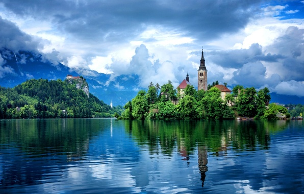 Picture the sky, clouds, reflection, trees, mountains, building, Lake