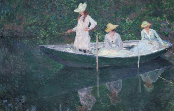 Picture reflection, girls, picture, hat, rod, Claude Monet, genre, In The Norwegian Boat. Giverny