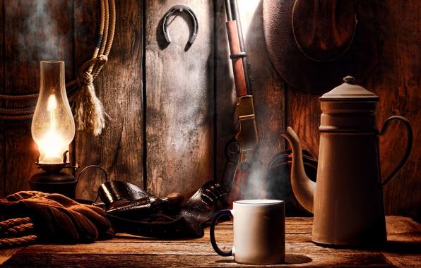 Picture lamp, hat, mug, revolver, Winchester, rifle, western, Western, equipment, ammunition, colt, winchester, rifle, wild West, …