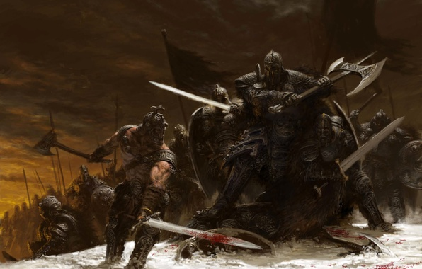 Picture winter, snow, weapons, sword, battle, axe, warriors, adrian smith