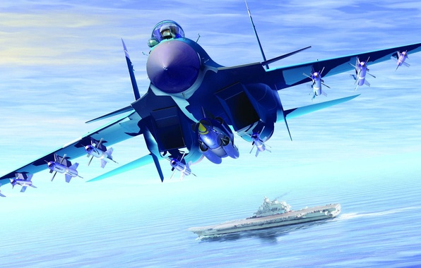 Picture sea, graphics, missiles, art, the carrier, carrier-based fighter, Su-33, Kuznetsov, Navy, Flanker-D