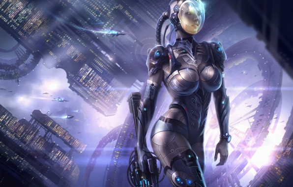 Picture girl, space, weapons, ships, station, the suit, art, helmet
