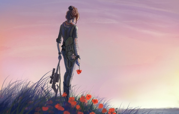 Picture grass, water, girl, flowers, river, weapons, glade, Maki, art, machine, red