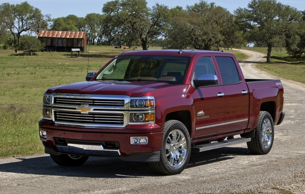 Picture road, background, Chevrolet, Chevrolet, pickup, Crew Cab, Silverado, High Country, Silverado, 667