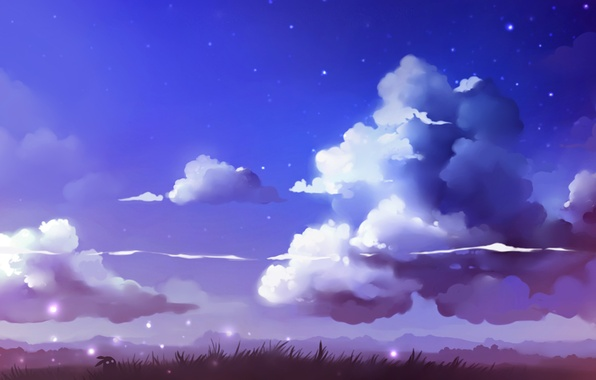 Picture the sky, grass, stars, clouds, landscape, figure, art, artist, apofiss, unknown creature, cloudscape
