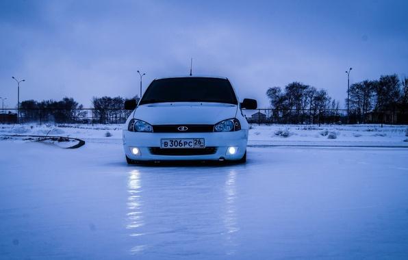 Picture winter, machine, auto, snow, lights, before, auto, LADA, VAZ, BPAN, Kalina, Stavropol Krai