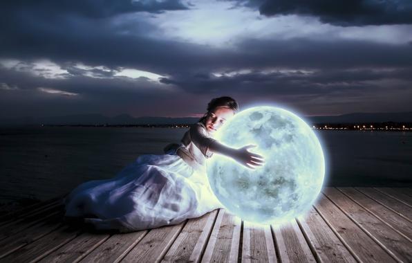 Wallpaper Girl, Light, Art, The Moon, Lights, Lunar, Night