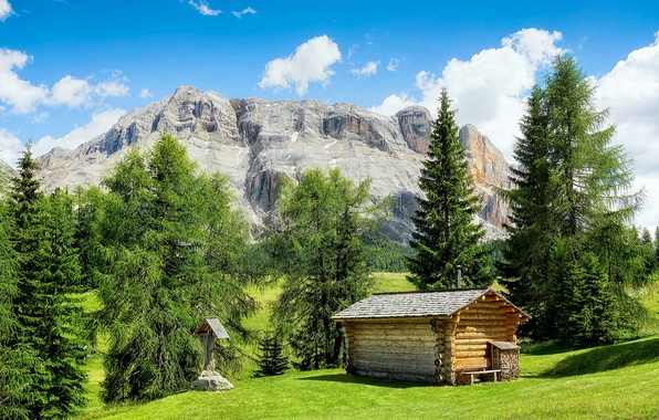 Picture field, the sky, grass, the sun, clouds, trees, mountains, house, rocks, Italy, hut, The Valle