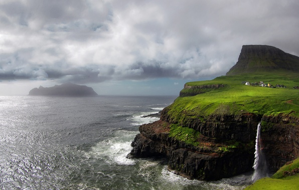 Picture rocks, island, mountain, waterfall, The Atlantic ocean, Faroe Islands