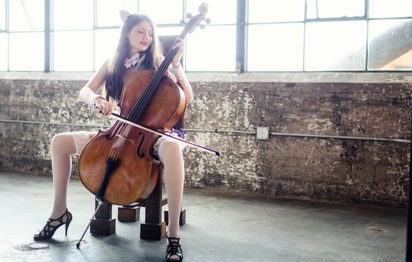Picture girl, music, cello, Chelo