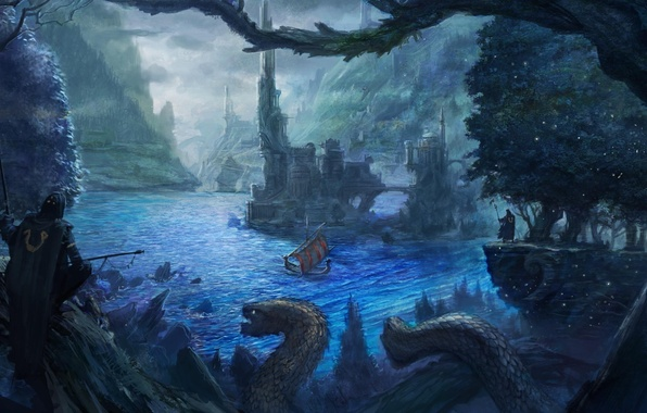 Picture the city, river, people, rocks, ship, monster, the evening, art, tower, guards