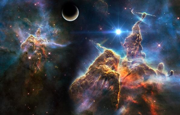 Picture space, stars, nebula, planet, space, universe, nebula, art, stars, planet