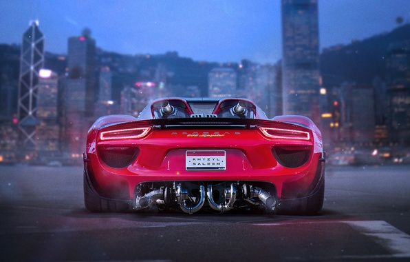Picture Porsche, Red, 918, Tuning, Future, Supercar, by Khyzyl Saleem, Bisi