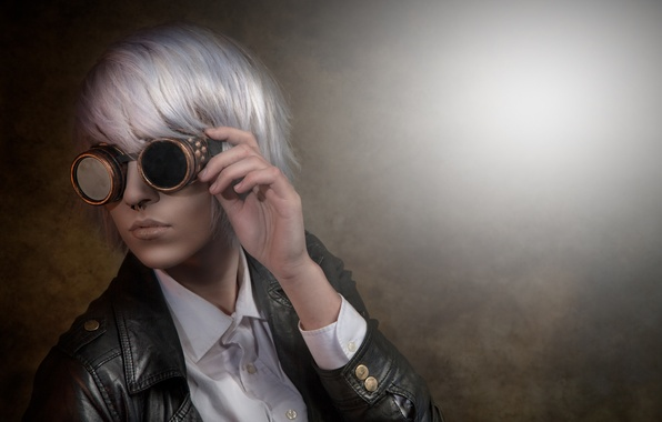 Picture girl, face, style, background, hair, glasses, jacket