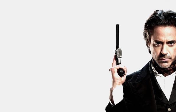 Picture gun, white background, Sherlock Holmes, Robert Downey Jr., Sherlock Holmes, not a good look