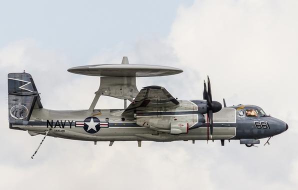 Picture the plane, deck, Hawkeye, far, detection, radar, E-2C