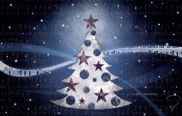 Picture blue, background, mood, holiday, Wallpaper, toys, tree, Christmas, picture, year, new