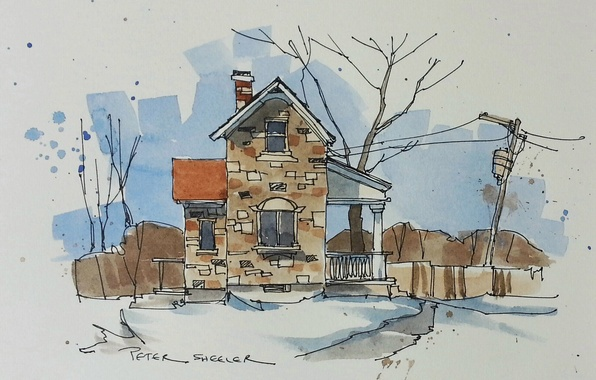 Picture the city, house, figure, watercolor