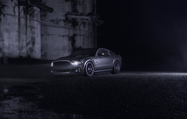 Picture Mustang, Ford, Dark, Muscle, Car, Front, Grey, Wheels, Velgen, Ligth, Nigth