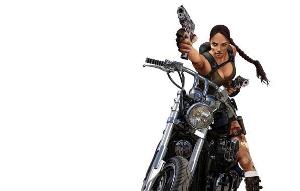 Picture girl, blood, guns, minimalism, motorcycle, Tomb Raider, Lara Croft