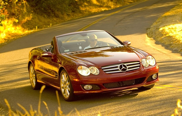 Photo wallpaper mercedes sl 550 widescreen, road, machine, the wheel, cars, Mercedes, auto, girls