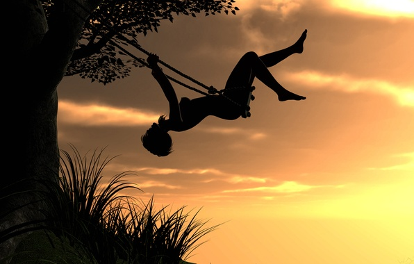 Picture the sky, girl, sunset, rendering, swing, tree