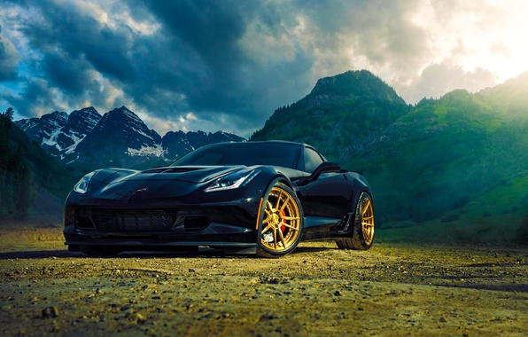 Picture Z06, Corvette, Chevrolet, Black, Sun, Mountain, Wheels, ADV.1, Ligth