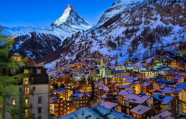 Picture mountains, building, mountain, home, Switzerland, village, Alps, top, panorama, Switzerland, Zermatt, the Matterhorn, Swiss Alps, …