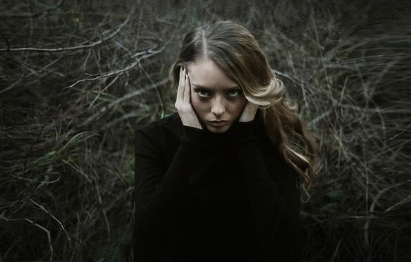 Picture look, girl, portrait, texture, scratches, pain