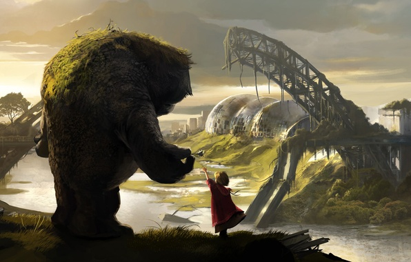 Picture landscape, fiction, view, monster, hill, girl, fantasy, drawing, 1920x1080