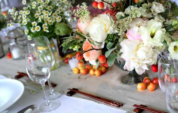 Picture flowers, table, glass, chamomile, bouquet, vase, cherry, Chinese chopsticks, peonies, serving