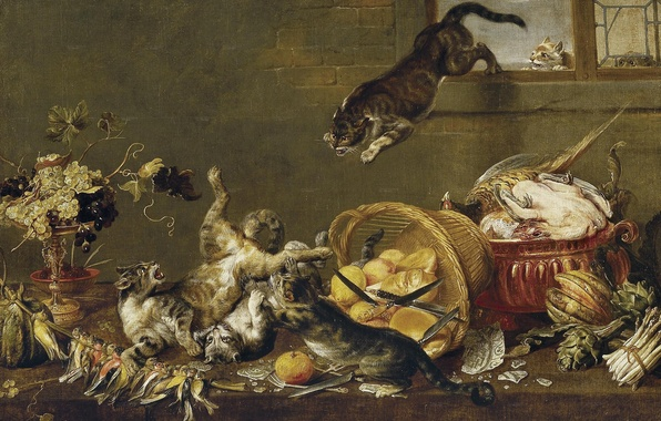 Picture cats, bird, basket, cats, fight, fruit, knives, vegetables, Flemish painting, XVII century